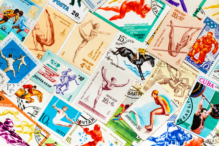 olympics: DIFFERENT COUNTRIES - CIRCA 1966-1987ss: Stamps printed in different countries shows set sport olympic games olympiad retro theme set, collage, circa 1966-1987ss