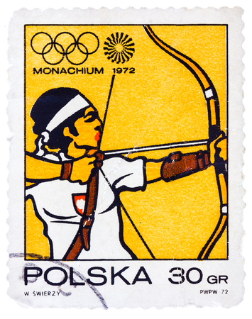 POLAND - CIRCA 1972: A stamp printed in POLAND shows Target archery Olympic Games in Munich, from series, circa 1972