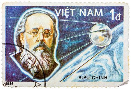 theorist: VIETNAM - CIRCA 1986: A stamp printed in the Vietnam shows Konstantin Tsiolkovsky, 1st Manned Space Flight, 25th Anniversary, circa 1986