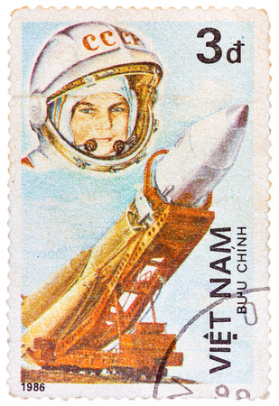yuri: VIETNAM - CIRCA 1986: Postage stamp printed in Vietnam shows first spaceman Yuri Gagarin, series, circa 1986