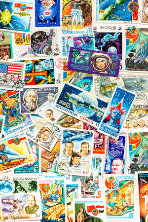 DIFFERENT COUNTRIES - CIRCA 1950-1990ss: Stamps printed in different countries shows set cosmos cosmic space theme, circa 1950-1990ss