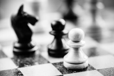 Chess pawns and knight standing on chessboard photo