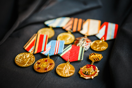RUSSIA, MOSCOW - 2014: Medals of a victory in the Great Patriotic War on the parade uniform of the veteran of the Soviet Union Armed Forces