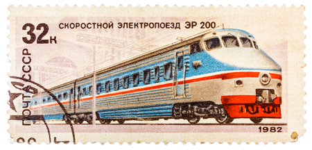 USSR - CIRCA 1982: A stamp printed in the USSR (Russia) showing Locomotive with the inscription High-speed electric locomotive ER-200, from the series Locomotives, circa 1982
