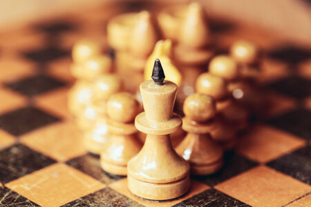 Chess leader led king his army white wooden figures