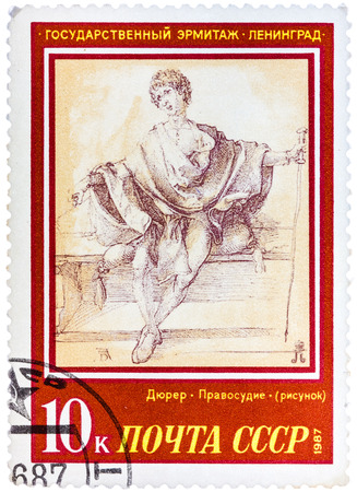 durer: USSR - CIRCA 1987: A stamp printed in the USSR, shows a painting artist Albrecht Durer Justice, circa 1987