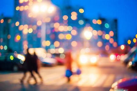 Onscherpe blauwe bokeh stedelijke stad effect. Ontwerp achtergrond Stockfoto