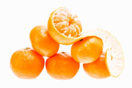 Fresh mandarin citrus isolated tangerine mandarin orange in heap on white  Stock Photo