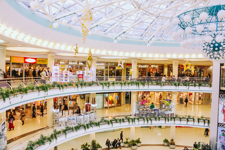 """MINSK - OCTOBER 1: Stolitsa is a major shopping center in Belarussian capital on October 1, 2013 in Minsk, Belarus. TC """"Stolitsa"""" is situated at the central square of Minsk – Nezavisimosty square. All its pedestrian part is a roofing of undergroun Editorial"""