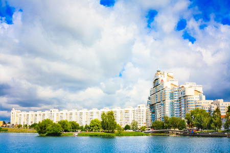 svisloch: Building in Minsk, downtown (Nemiga) View with Svisloch River, Belarus