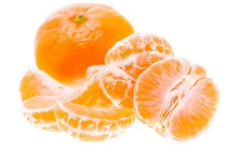 Peeled Tasty Sweet Tangerine Orange Mandarin Fruit Isolated On White Background