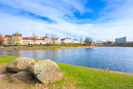 svisloch: Building in old part Minsk, downtown (Nemiga) View with Svisloch River, Belarus