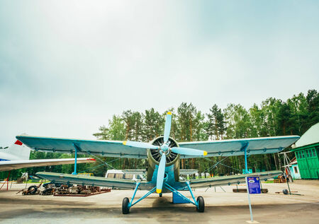 MINSK, BELARUS - JUN 04, 2014: Famous soviet plane paradropper Antonov An-2 Heritage of Flying Legends aircraft in Belarusian Aviation Museum (in Borovoe), June 04, 2014 in Minsk, Belarus