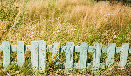 picket green: Old Green Picket Garden Fence
