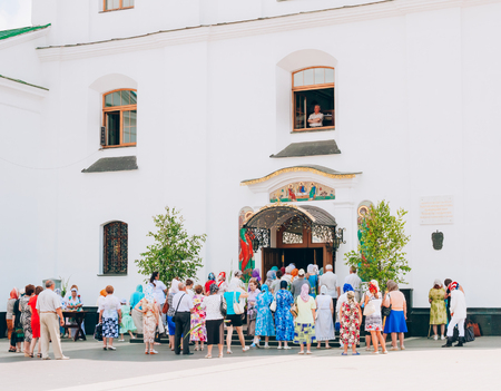 believers: MINSK, BELARUS - JUNE 23: Believers Out Of The Cathedral Of The Holy Spirit On June 23, 2013 in Minsk, Belarus