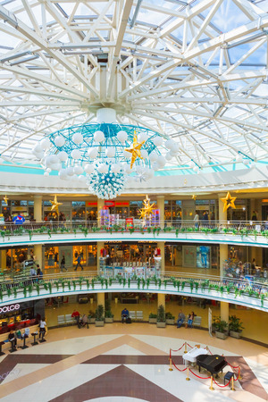 MINSK - AUGUST 27: Stolitsa is a major shopping center in Belarussian capital on August 27, 2014 in Minsk, Belarus. 75000 square meters used for rent by shops and boutiques, public catering, rest. Editorial
