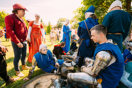MINSK - JUL 19: Warriors participants of VI festival of medieval culture Our Grunwald, dedicated to 604 anniversary of Battle of Grunwald on July 19, 2014 in Dudutki, Minsk region, Belarus