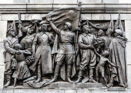 Bas-relief Scenes On The Wall Of The Stele Dedicated To The Memory Of The Great Patriotic War. Victory Square - Symbol Belarusian Capital, Minsk, Belarus