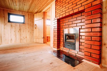 Interior Of The Sauna - Window, Fireplace, Nobody