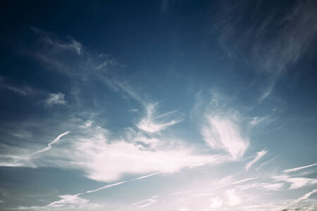Bright Blue Sky  And White Clouds Background Stock Photo
