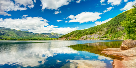 Norway Nature Fjord, Summer View. Sunny Day, Landscape With Mountain, Pure Water Lake, Pond, Sea photo