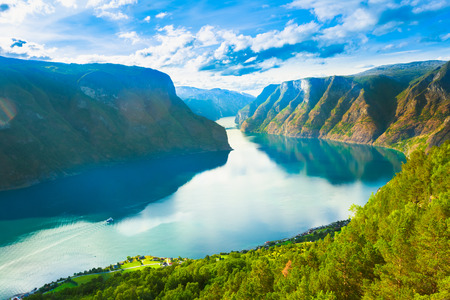 Norway Nature Fjord, Summer Sognefjord. Sunny Day, Landscape With Mountain, Pure Water Lake, Pond, Sea photo