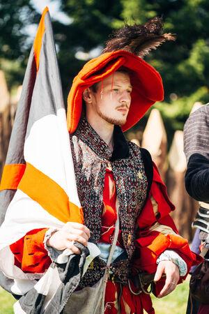 MINSK - JUL 19: Warrior participant of VI festival of medieval culture Our Grunwald, dedicated to 604 anniversary of Battle of Grunwald on July 19, 2014 in Dudutki, Minsk region, Belarus