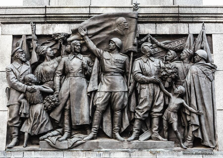 stele: Bas-relief Scenes On The Wall Of The Stele Dedicated To The Memory Of The Great Patriotic War. Victory Square - Symbol Belarusian Capital, Minsk, Belarus