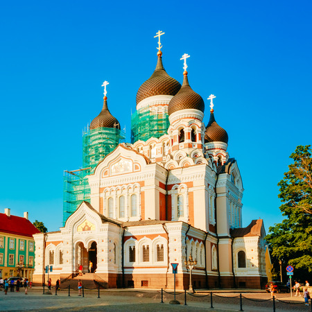 alexander nevsky: Alexander Nevsky Cathedral, An Orthodox Cathedral Church In Tallinn Old Town, Estonia. Summer Time