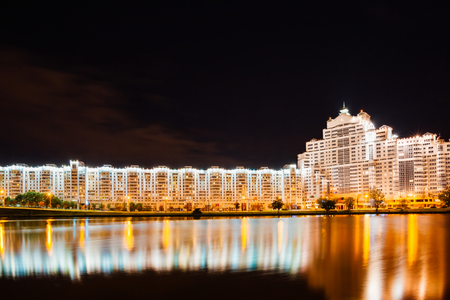 svisloch: Night Scene Building In Minsk, Downtown (Nemiga, Nyamiha) View With Svisloch River, Belarus Editorial