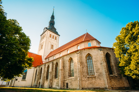 White Old Medieval Former St. Nicholas Church (Niguliste) In Tallinn, Estonia Stock Photo