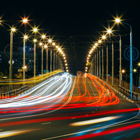 Speed Traffic - Light Trails On City Road At Night, Long Exposure Abstract Urban Background Standard-Bild