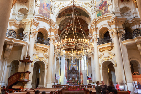 st nicholas cathedral: PRAGUE, CZECH REPUBLIC - OCTOBER 8, 2014: Interior Of Baroque Church Of St. Nicholas - Old Town Square in Prague, Czech Republic.