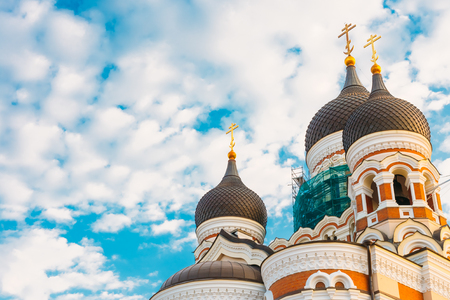Domes Of Alexander Nevsky Cathedral On Sky Background. Orthodox Cathedral Church In The Tallinn Old Town, Estonia.