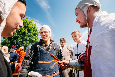 MINSK - JUL 19: Warriors participants of festival of medieval culture Our Grunwald, dedicated to 604 anniversary of Battle of Grunwald on July 19, 2014 in Dudutki, Minsk region, Belarus