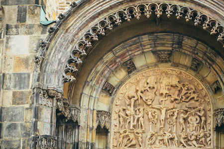 tyn: Bas-relief On Famous Landmark - Church Of Our Lady Before Tyn In Prague, Czech Republic. Jesus Christ Crucified On The Cross - Biblical Story. Stock Photo