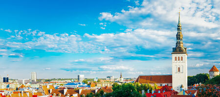 Panorama Panoramic Scenic View Landscape Old City Town Tallinn In Estonia photo