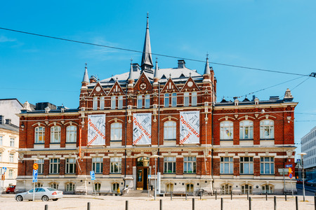 researches: HELSINKI, FINLAND - JULY 27, 2014: Finnish Design Museum (Designmuseo) building. Designmuseum researches, collects, stores and documents design, and displays it both in Finland and in touring exhibitions abroad. Editorial