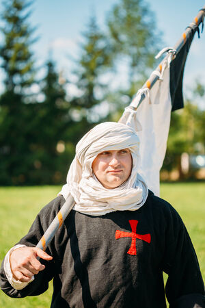 MINSK, BELARUS - JULY 19, 2014: Warrior participant of festival of medieval culture
