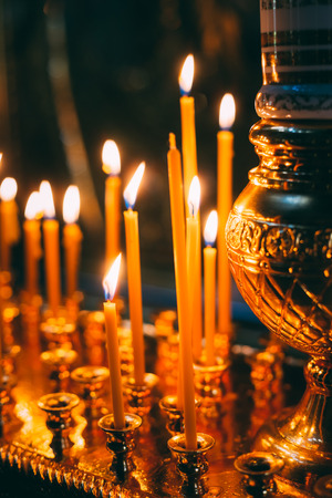 easter candle is burning: Interior Of Belarussian Orthodox Church In Easter In Minsk, Belarus. Easter Is The Most Popular Religious Holiday In Belarus.