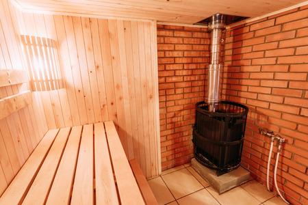 Interior Of The Sauna - Shelves, Lamp, Nobody, Boiler