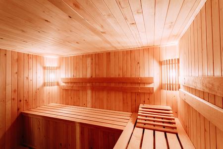 Interior Of The Sauna - Shelves, Lamp, Nobody