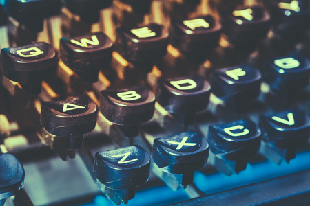 old letters: Close Up Toned Photo Of Antique Typewriter Keys. Old Manual Retro Keys, Vintage Keyboard. Stock Photo