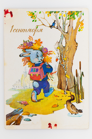 archival: USSR - CIRCA 1990: Reproduction of antique postcard shows cute bunny goes to school with a backpack and bouquet of autumn leaves, circa 1990. (painter Ozhegova)