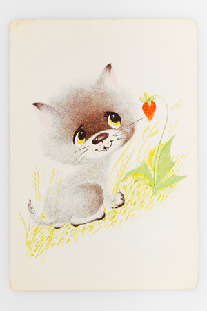 reproduction: USSR - CIRCA 1989: Reproduction of antique postcard shows gray kitten standing near bush of strawberries, circa 1989. Painter  G. Bugaev Editorial