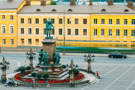 suomi: HELSINKI, FINLAND - JULY 27, 2014: Statue Of Emperor Alexander II Of Russia On Senate Square In Helsinki, Finland, Suomi Editorial