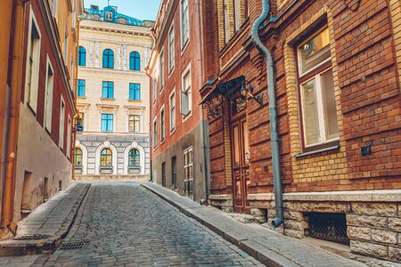 estonian: Streets And Old Town Architecture Estonian Capital, Tallinn, Estonia Stock Photo