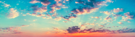 Panoramic Shot View Bright Blue, Orange And Yellow Colors Sunset Sky. Panorama