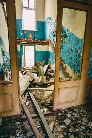 Abandoned House Interior In Chernobyl. School Of Pripyat. Chornobyl Disasters photo