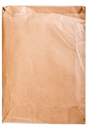Envelope yellow brown vintage  isolated on white background photo